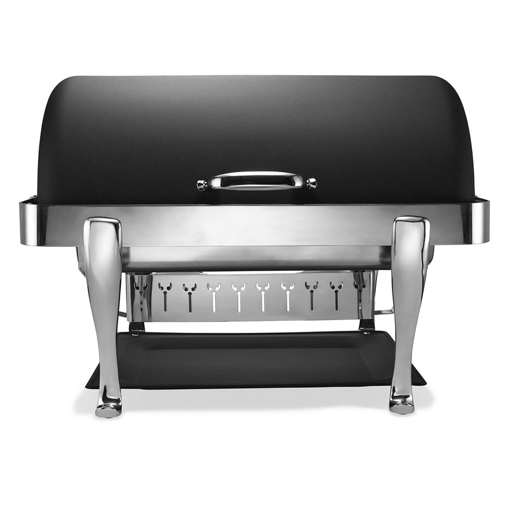 Bon Chef 19040CH-NERO Full Size Chafer w/ Roll-top Lid & Chafing Fuel Heat