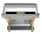 Bon Chef 19040G 2-Gallon Rectangular Roll Down Stainless Chafer, w/ Gold