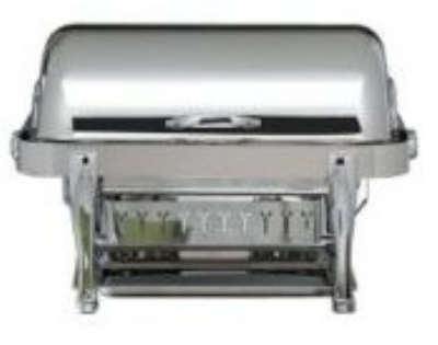 Bon Chef 19040S 2-Gallon Rectangular Roll Down Stainless Chafer, w/ Silver