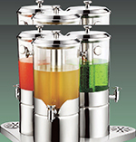 Bon Chef 40507 6-Gal Triple Rotating Juice Dispenser w/ Stainless Ice Chamber & Base