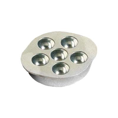 "Bon Chef 5052P 4.25"" Snail Dish, 6-Hole, Aluminum/Pewter-Glo"