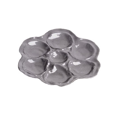 "Bon Chef 5079P 10"" Oyster Plate, 6-Hole, Aluminum/Pewter-Glo"