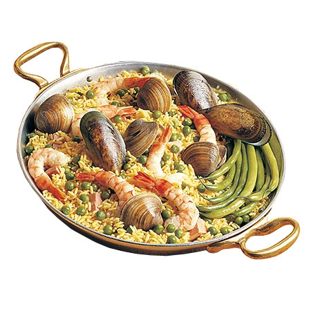 "Bon Chef 5100S 12"" Aluminum Paella Pan w/ 2.625-qt Capacity, Fiesta Gold"