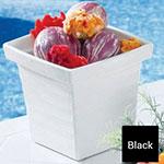 Bon Chef 53108 1-qt 24-oz Square Bowl,  Melamine/Black