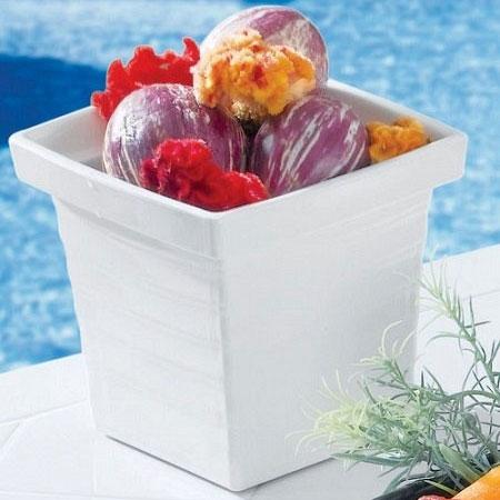 Bon Chef 53108 1-qt 24-oz Square Bowl,  Melamine/White
