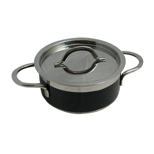 Bon Chef 60299 BLK 1.7-qt Enameled Tri-Ply Braiser w/ Lid, Black