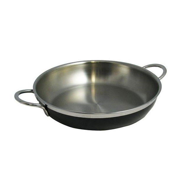 Bon Chef 60304 BLK 1.63-qt Enameled Tri-Ply Saute Pan/Skillet, Double Handle, Black