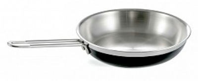 Bon Chef 60308 BLK 2.38-qt Enameled Tri-Ply Saute Pan/Skillet, Long Handle, Black