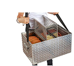 Bon Chef 61290 Hot Dog Hawker Server - (2)1/6 and (1)1/3 Size Food Pans, Aluminum