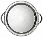 "Bon Chef 61335 15"" Round Tray w/ Handle & Etching,  Border, Stainless Steel"