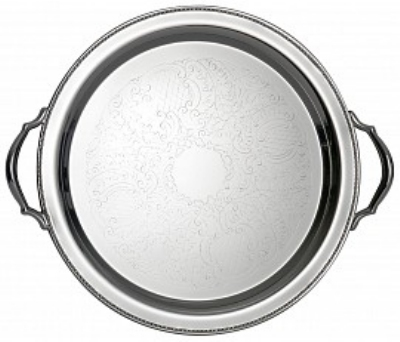 """Bon Chef 61335 15"""" Round Tray w/ Handle & Etching,  Border, Stainless Steel"""