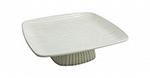 """Bon Chef 99189920S WHT 10"""" Footed Ribbed Platter, White"""