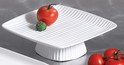"Bon Chef 99199911S WH Ribbed Platter, Footed, 12.5 x 12.5 x 3"", Aluminum/White"