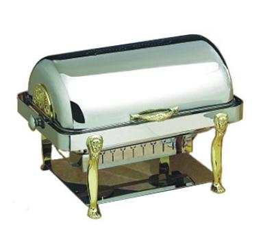 Bon Chef 18040 2-Gallon Rectangular Roll Down Chafer, Stainless, Lion