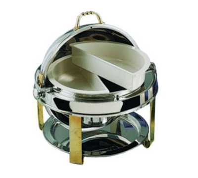 Bon Chef 12010G 2-Gallon Roll Down Round Chafer, Stainless w/ Gold Accent