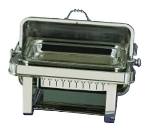 Bon Chef 13004 Rectangular 2-Gallon Roll-Down Chafer, Silver Plated