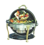 Bon Chef 17000 2-Gallon Round Roll Down Chafer, Stainless w/ Brass