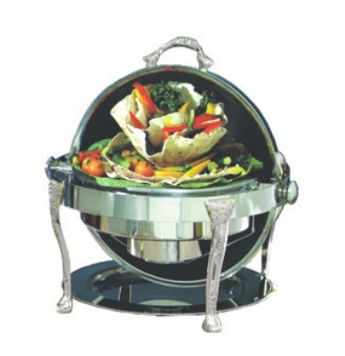 Bon Chef 17000S 2-Gallon Round Roll Down Chafer, Stainless w/ Silver Plate