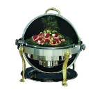 Bon Chef 18000 2-Gallon Round Roll Down Stainless Chafer w/ Brass Accent
