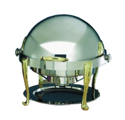 Bon Chef 19000 2-Gallon Round Roll Down Chafer, Stainless w/ Brass, Roman