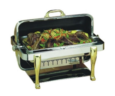 Bon Chef 19040 2-Gallon Rectangular Roll Down Stainless Chafer, Roman