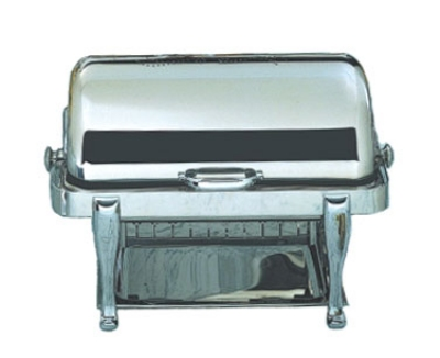 Bon Chef 19040CH 2-Gallon Rectangular Roll Down Stainless Chafer, w/ Chrome