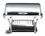 Bon Chef 19040CHH 2-Gallon Rectangular Roll Down Stainless Chafer, w/ Hammered