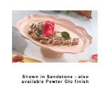 """Bon Chef 20249059S WH Pedestal Platter, 10-7/8 x 13.75"""", Aluminum/White"""