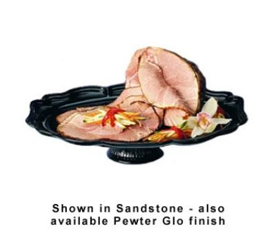 "Bon Chef 20281S BLK Oval Pedestal Tray, 14.75 x 20"", Aluminum/Black"
