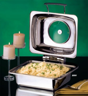 Bon Chef 20301 Square Mini Induction Chafer With Glass, Small