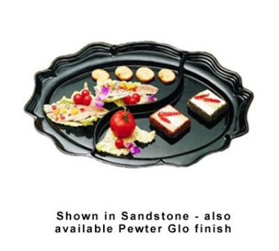 "Bon Chef 2030DS BLK Divided Platter, 18.75 x 24"", Aluminum/Black"