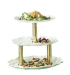 Bon Chef 2030TTS BLK 3-Tier Display Stand, 24-in, Aluminum/Black