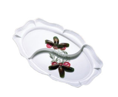 "Bon Chef 2031DS WH Divided Platter, 19.75 x 30"", Aluminum/White"