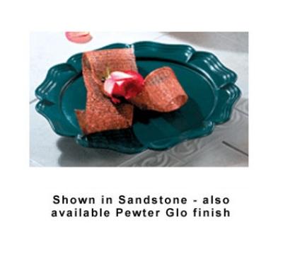 "Bon Chef 20363010S BLK Round Pedestal Platter, 15-7/8"", Aluminum/Black"