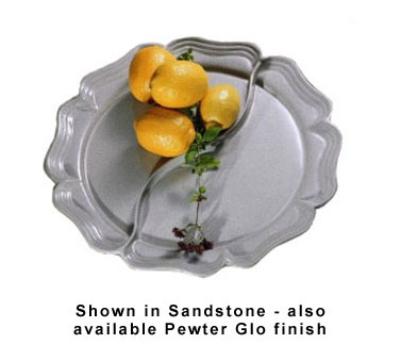 Bon Chef 2036DS WH Round Divided Platter, Aluminum/White