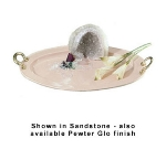 Bon Chef 2045BHP 20.25-in Oval Brass Handle Serving Tray w/ Pewter-Glo