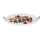 "Bon Chef 2047BH&LS BLK 24.75"" Oval Serving Tray, Brass Handle Aluminum/Black"