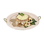 "Bon Chef 2050BH&LS WH 22"" Brass Handled Round Serving Tray , Aluminum/White"