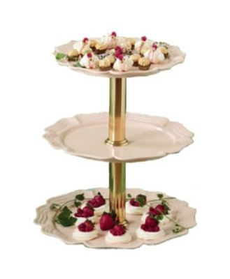 "Bon Chef 2062TTS WH 20"" Round 3-Tier Display Stand, Aluminum/White"