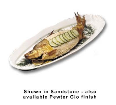 """Bon Chef 2063S WH Shell Fish Platter, 9 x 28"""", Aluminum/White"""