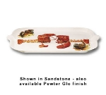 "Bon Chef 2069S WH Shell Handle Platter, 22 x 32"", Aluminum/White"