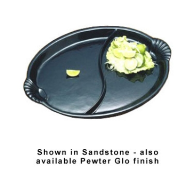 "Bon Chef 2075DS BLK 24.75"" Shell Handle Divided Platter, Aluminum/Black"