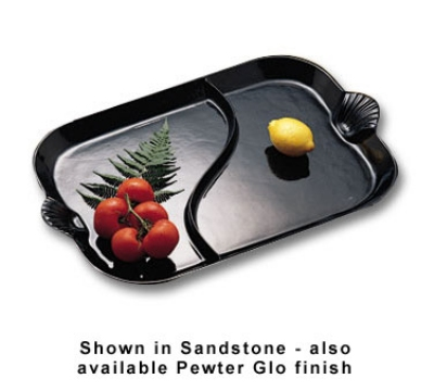 "Bon Chef 2096DS BLK 26"" Divided Platter w/ Shell Handle, Aluminum/Black"