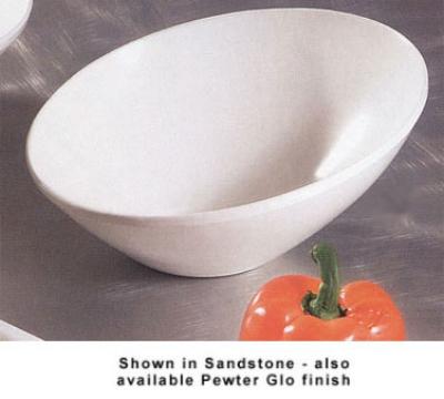 """Bon Chef 2711P 8.5"""" Slant Bowl, Aluminum/Pewter-Glo"""