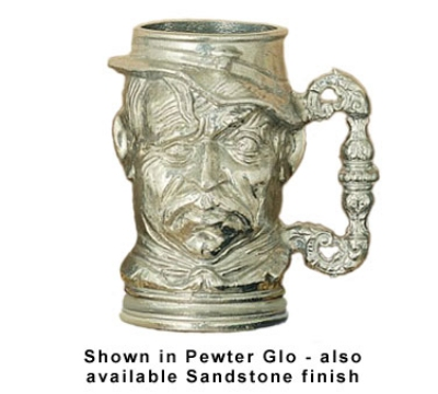 Bon Chef 4023S WH 14-oz English Toby Old Man Tankard, Aluminum/White