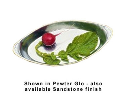 Bon Chef 5020P 7.5-in Oval Au Gratin Pan, Aluminum/Pewter-Glo
