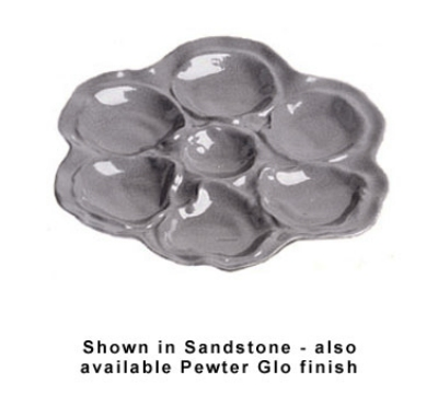 Bon Chef 5079S WH 10-in Oyster Plate, 6-Hole, Aluminum/White
