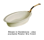 Bon Chef 5099HLS WH 7-qt Oval Casserole Dish, Long Brass Handle, Aluminum/White