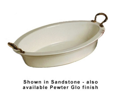 Bon Chef 5099HRS WH 7-qt Oval Casserole Dish, Round Brass Handle, Aluminum/White