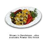 Bon Chef 5500P 3-qt Oval Pasta Bowl, Aluminum/Pewter-Glo